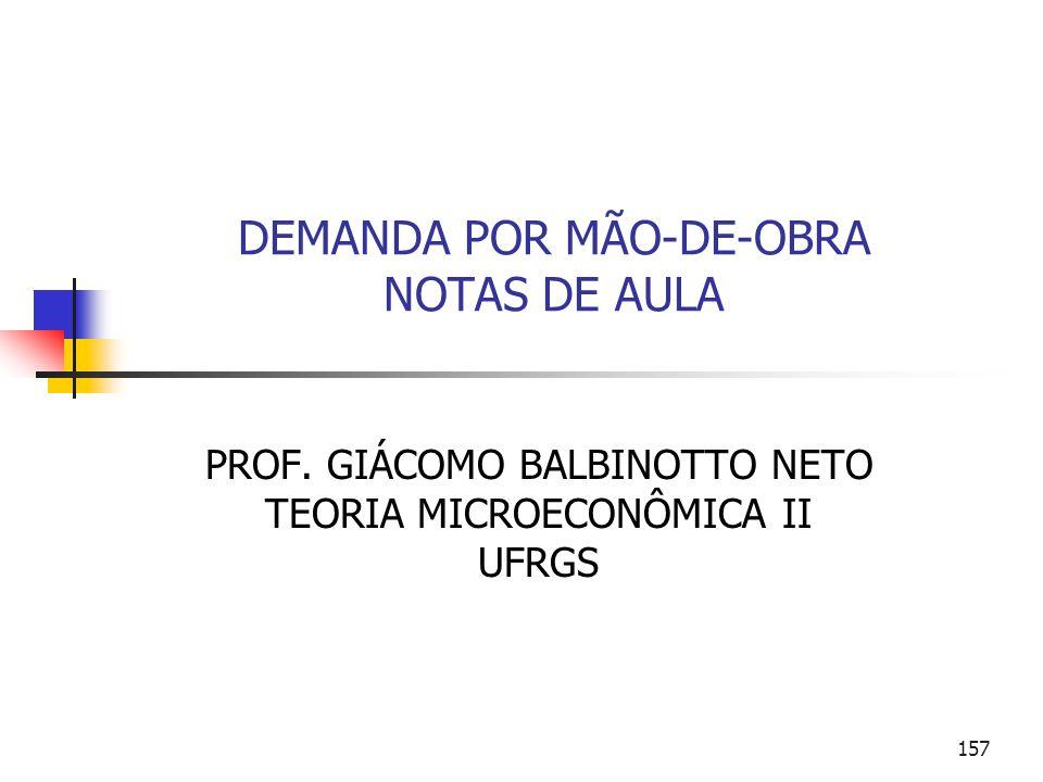 157 DEMANDA POR MÃO-DE-OBRA NOTAS DE AULA PROF. GIÁCOMO BALBINOTTO NETO TEORIA MICROECONÔMICA II UFRGS
