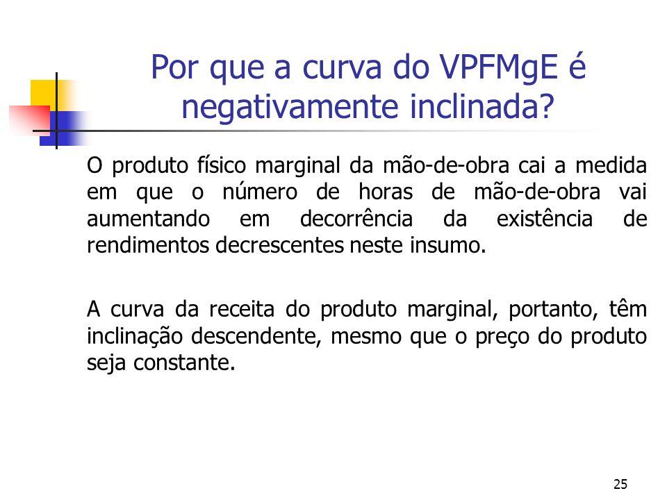 25 Por que a curva do VPFMgE é negativamente inclinada? O produto físico marginal da mão-de-obra cai a medida em que o número de horas de mão-de-obra