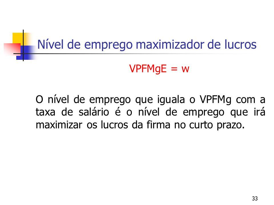 33 Nível de emprego maximizador de lucros VPFMgE = w O nível de emprego que iguala o VPFMg com a taxa de salário é o nível de emprego que irá maximiza
