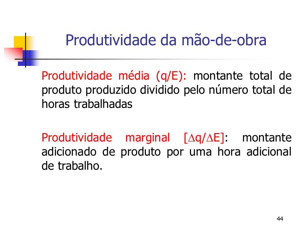 44 Produtividade da mão-de-obra Produtividade média (q/E): montante total de produto produzido dividido pelo número total de horas trabalhadas Produti