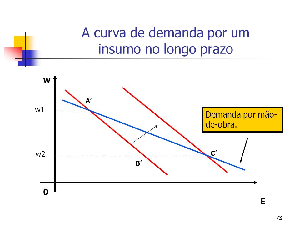 73 A curva de demanda por um insumo no longo prazo A C B E 0 w Demanda por mão- de-obra. w1 w2