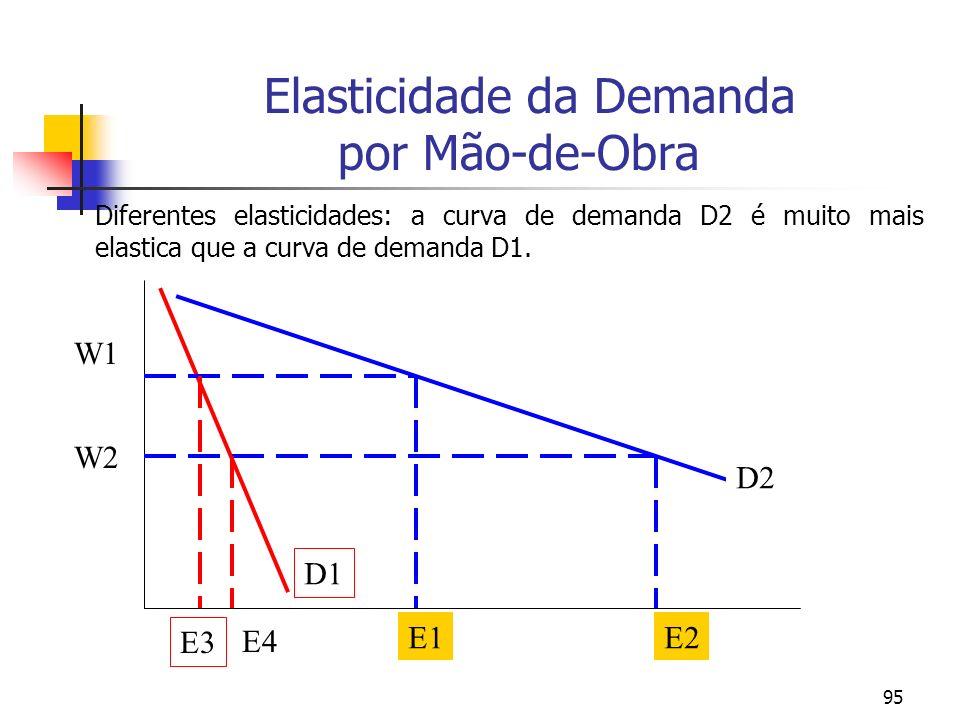 95 Elasticidade da Demanda por Mão-de-Obra Diferentes elasticidades: a curva de demanda D2 é muito mais elastica que a curva de demanda D1. D1 D2 W1 W