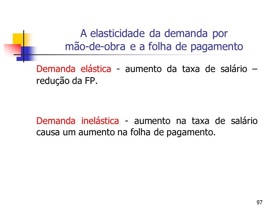 97 A elasticidade da demanda por mão-de-obra e a folha de pagamento Demanda elástica - aumento da taxa de salário – redução da FP. Demanda inelástica