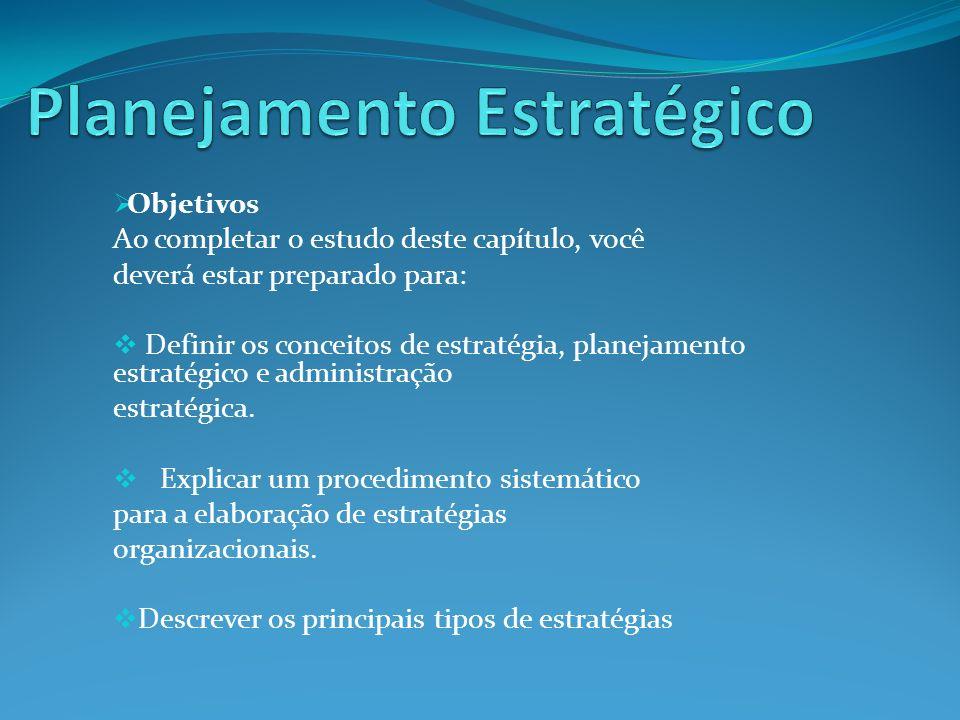 Objetivos Ao completar o estudo deste capítulo, você deverá estar preparado para: Definir os conceitos de estratégia, planejamento estratégico e admin