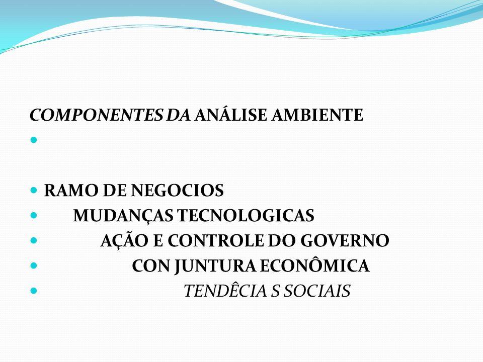 COMPONENTES DA ANÁLISE AMBIENTE RAMO DE NEGOCIOS MUDANÇAS TECNOLOGICAS AÇÃO E CONTROLE DO GOVERNO CON JUNTURA ECONÔMICA TENDÊCIA S SOCIAIS