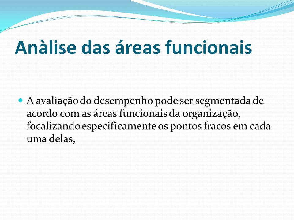 Anàlise das áreas funcionais A avaliação do desempenho pode ser segmentada de acordo com as áreas funcionais da organização, focalizando especificamen