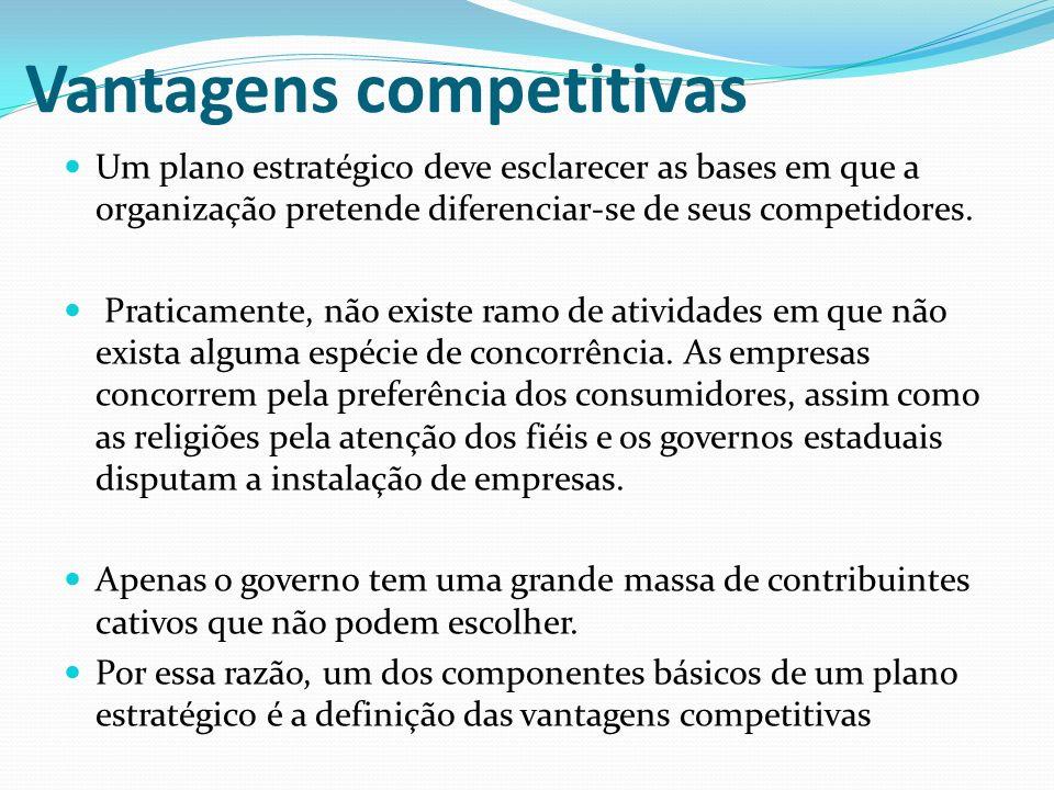 Vantagens competitivas Um plano estratégico deve esclarecer as bases em que a organização pretende diferenciar-se de seus competidores. Praticamente,