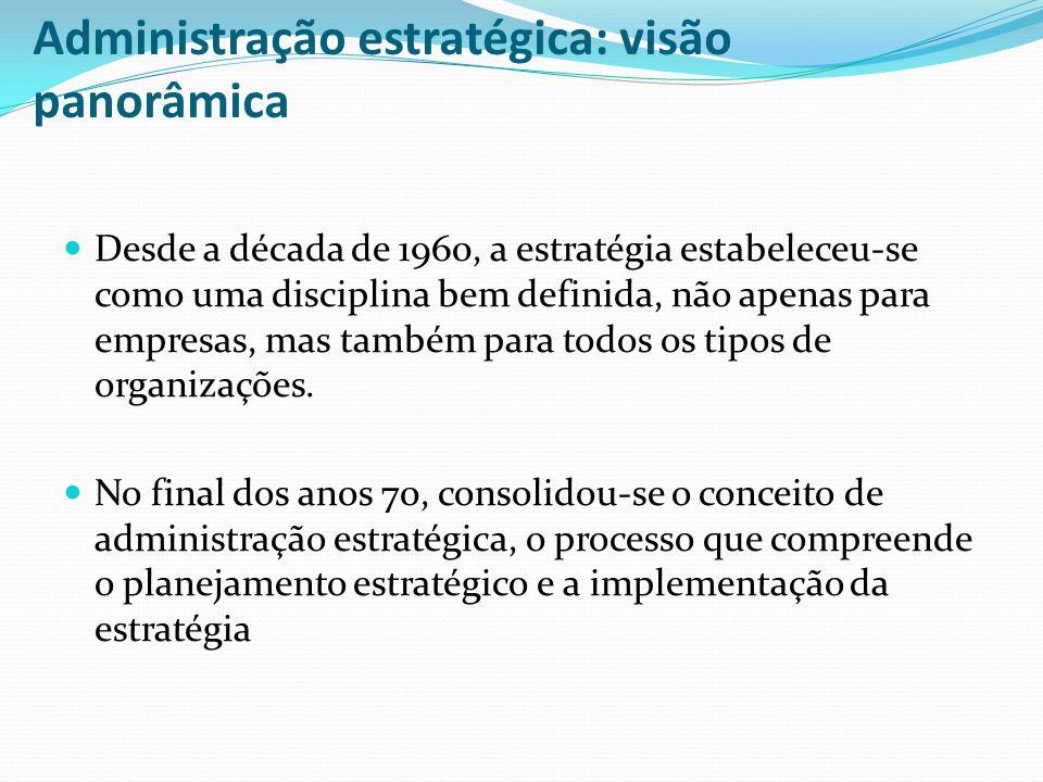 Administração estratégica: visão panorâmica Desde a década de 1960, a estratégia estabeleceu-se como uma disciplina bem definida, não apenas para empr