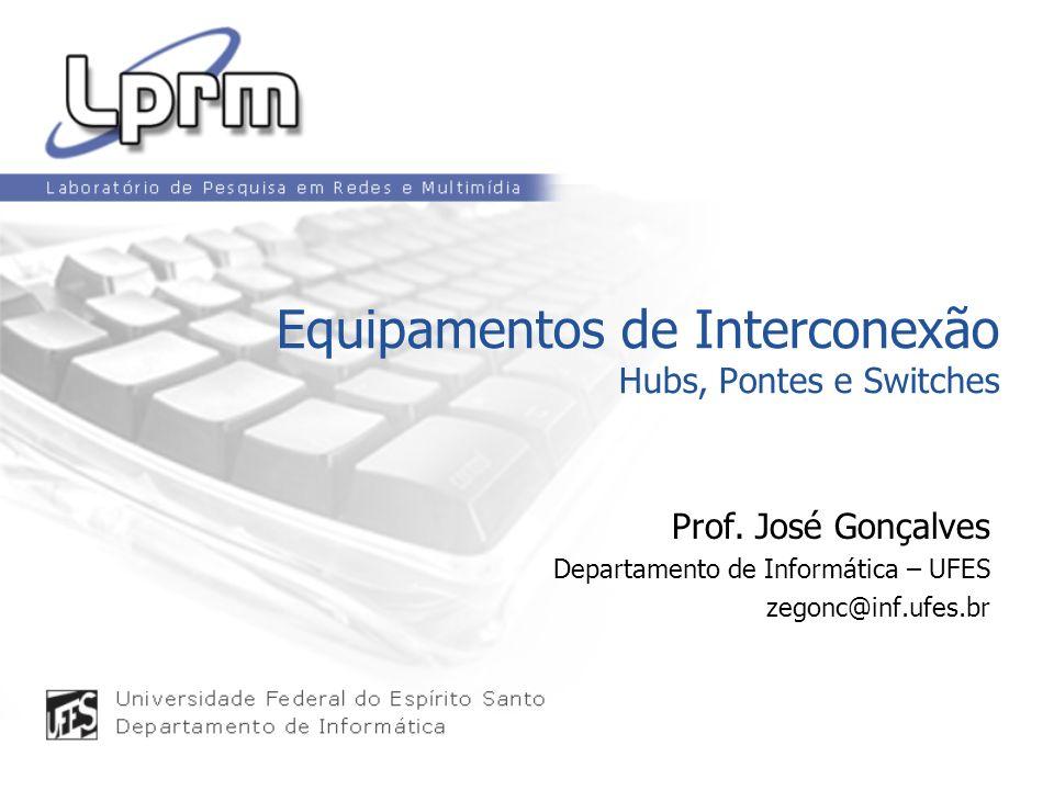 Equipamentos de Interconexão Hubs, Pontes e Switches Prof. José Gonçalves Departamento de Informática – UFES zegonc@inf.ufes.br