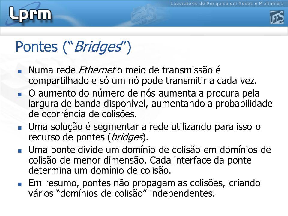 Pontes (Bridges) Numa rede Ethernet o meio de transmissão é compartilhado e só um nó pode transmitir a cada vez. O aumento do número de nós aumenta a