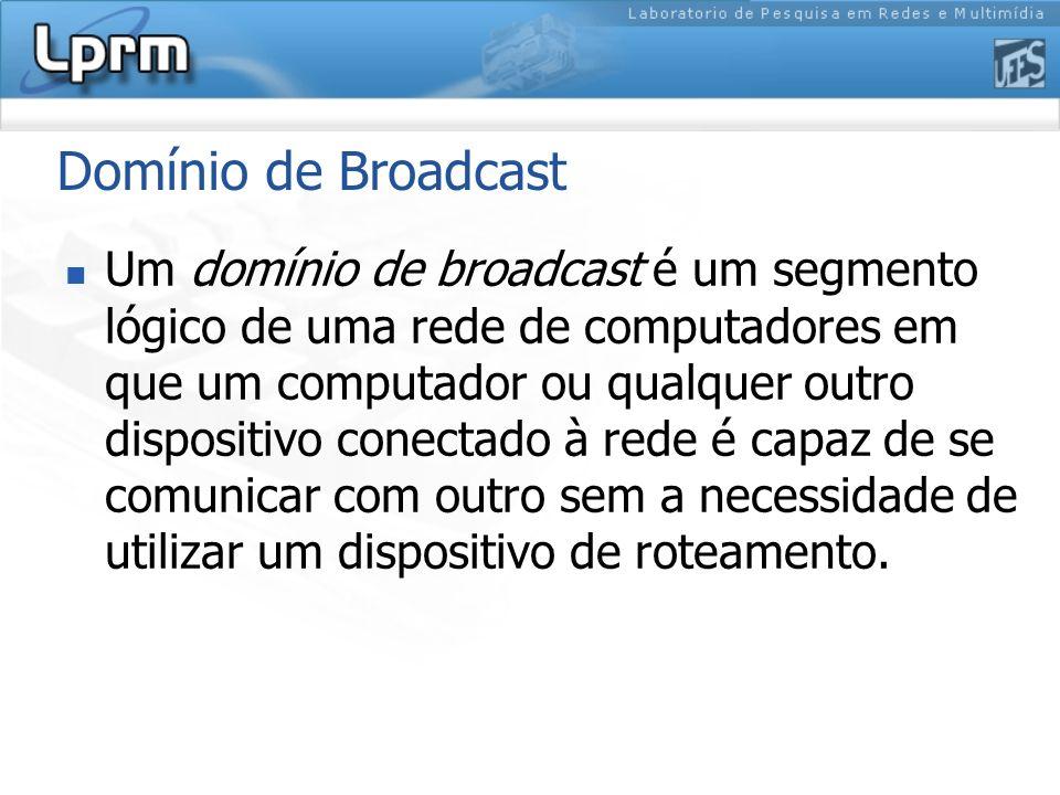 Domínio de Broadcast Um domínio de broadcast é um segmento lógico de uma rede de computadores em que um computador ou qualquer outro dispositivo conec