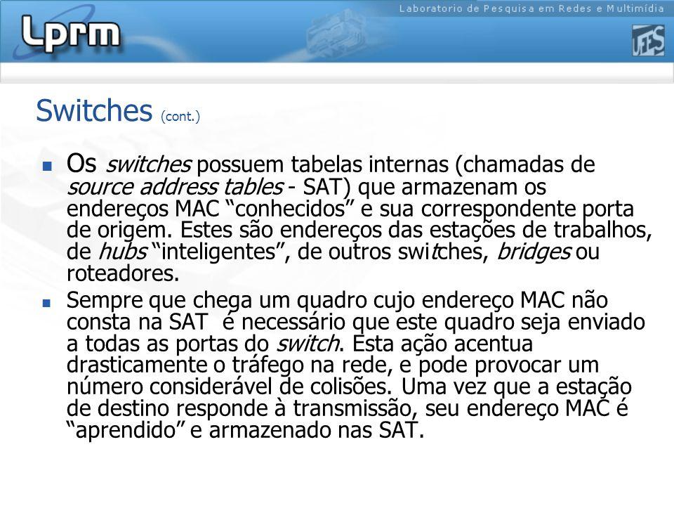 Switches (cont.) Os switches possuem tabelas internas (chamadas de source address tables - SAT) que armazenam os endereços MAC conhecidos e sua corres