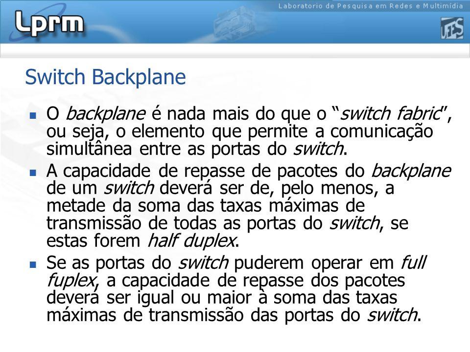 Switch Backplane O backplane é nada mais do que o switch fabric, ou seja, o elemento que permite a comunicação simultânea entre as portas do switch. A