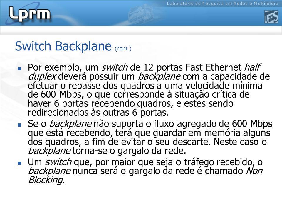 Switch Backplane (cont.) Por exemplo, um switch de 12 portas Fast Ethernet half duplex deverá possuir um backplane com a capacidade de efetuar o repas