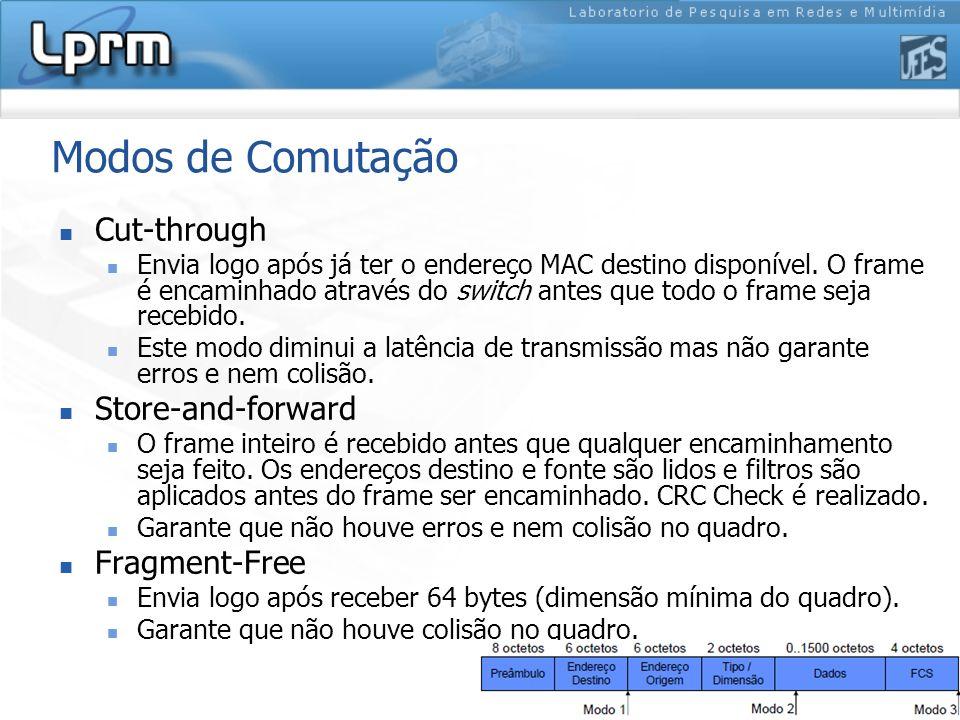 Modos de Comutação Cut-through Envia logo após já ter o endereço MAC destino disponível. O frame é encaminhado através do switch antes que todo o fram