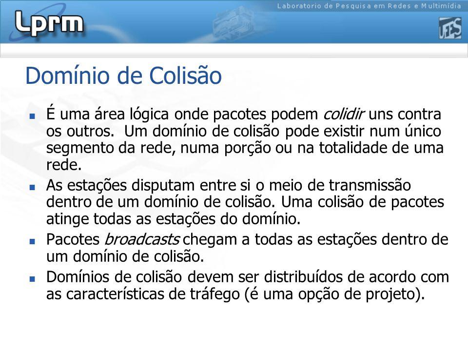 Domínio de Colisão É uma área lógica onde pacotes podem colidir uns contra os outros. Um domínio de colisão pode existir num único segmento da rede, n