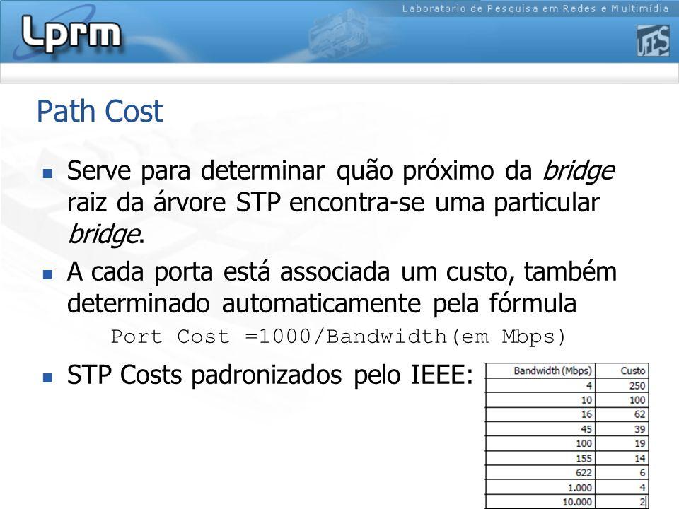 Path Cost Serve para determinar quão próximo da bridge raiz da árvore STP encontra-se uma particular bridge. A cada porta está associada um custo, tam
