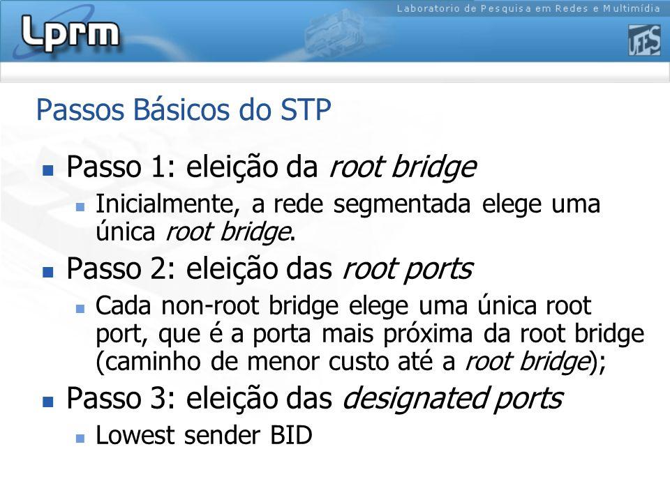 Passos Básicos do STP Passo 1: eleição da root bridge Inicialmente, a rede segmentada elege uma única root bridge. Passo 2: eleição das root ports Cad
