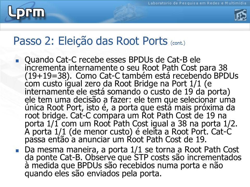 Passo 2: Eleição das Root Ports (cont.) Quando Cat-C recebe esses BPDUs de Cat-B ele incrementa internamente o seu Root Path Cost para 38 (19+19=38).