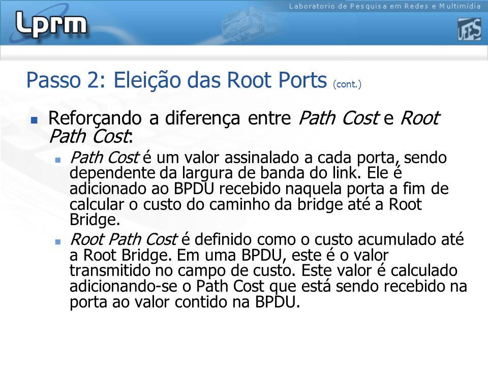 Passo 2: Eleição das Root Ports (cont.) Reforçando a diferença entre Path Cost e Root Path Cost: Path Cost é um valor assinalado a cada porta, sendo d