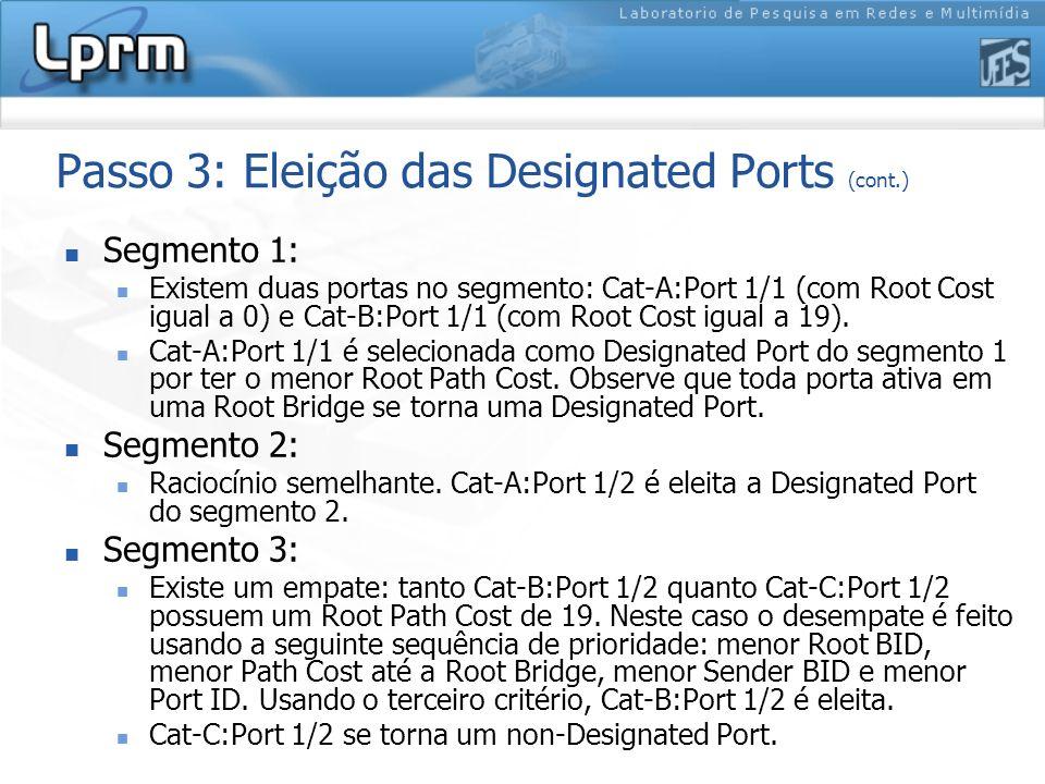 Passo 3: Eleição das Designated Ports (cont.) Segmento 1: Existem duas portas no segmento: Cat-A:Port 1/1 (com Root Cost igual a 0) e Cat-B:Port 1/1 (