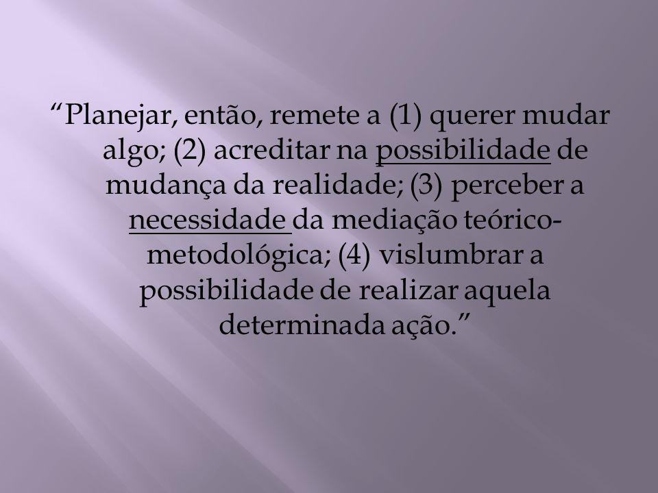 Planejar, então, remete a (1) querer mudar algo; (2) acreditar na possibilidade de mudança da realidade; (3) perceber a necessidade da mediação teóric