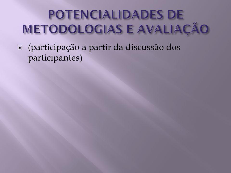 (participação a partir da discussão dos participantes)
