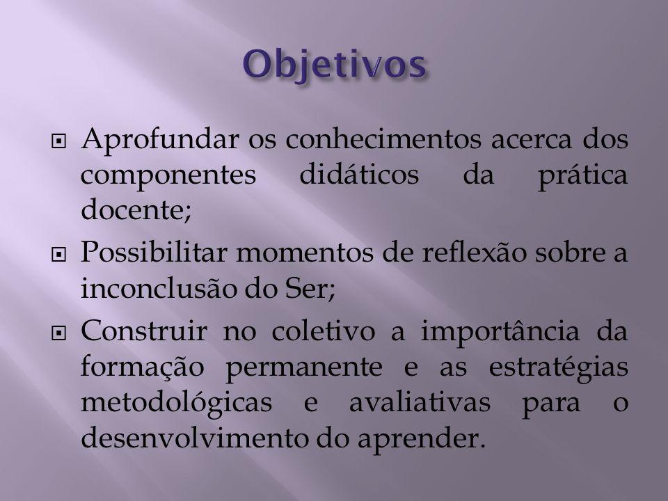 Aprofundar os conhecimentos acerca dos componentes didáticos da prática docente; Possibilitar momentos de reflexão sobre a inconclusão do Ser; Constru