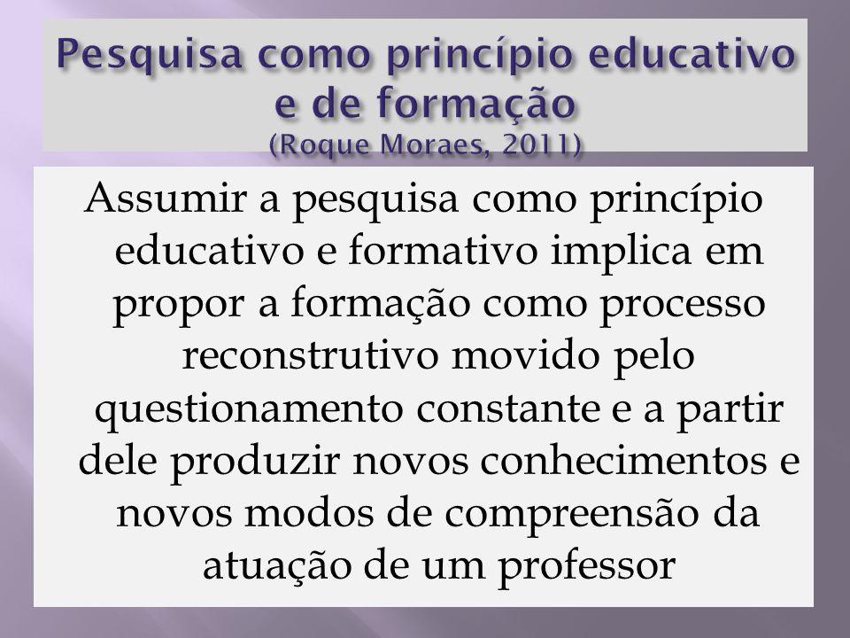 Assumir a pesquisa como princípio educativo e formativo implica em propor a formação como processo reconstrutivo movido pelo questionamento constante