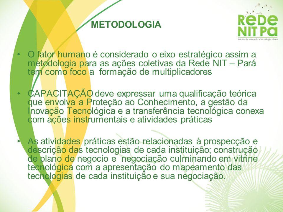METODOLOGIA O fator humano é considerado o eixo estratégico assim a metodologia para as ações coletivas da Rede NIT – Pará tem como foco a formação de