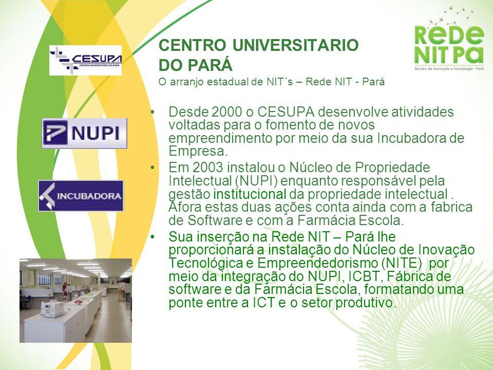 CENTRO UNIVERSITARIO DO PARÁ O arranjo estadual de NIT´s – Rede NIT - Pará Desde 2000 o CESUPA desenvolve atividades voltadas para o fomento de novos