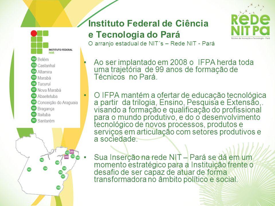 Instituto Federal de Ciência e Tecnologia do Pará O arranjo estadual de NIT´s – Rede NIT - Pará Ao ser implantado em 2008 o IFPA herda toda uma trajet