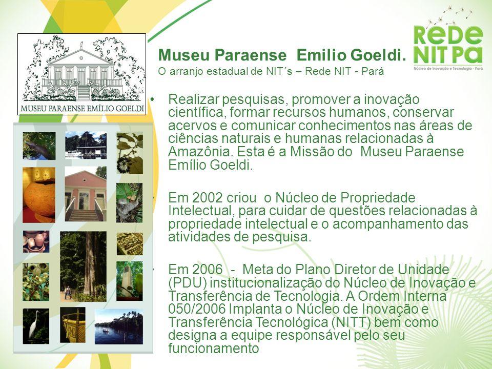 Museu Paraense Emilio Goeldi. O arranjo estadual de NIT´s – Rede NIT - Pará Realizar pesquisas, promover a inovação científica, formar recursos humano