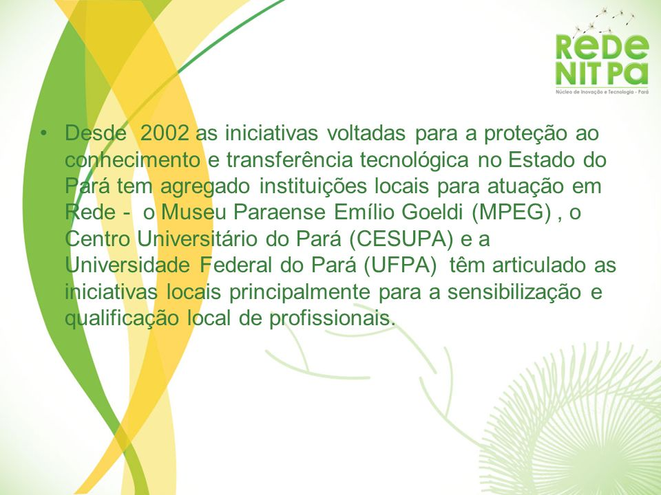 Desde 2002 as iniciativas voltadas para a proteção ao conhecimento e transferência tecnológica no Estado do Pará tem agregado instituições locais para
