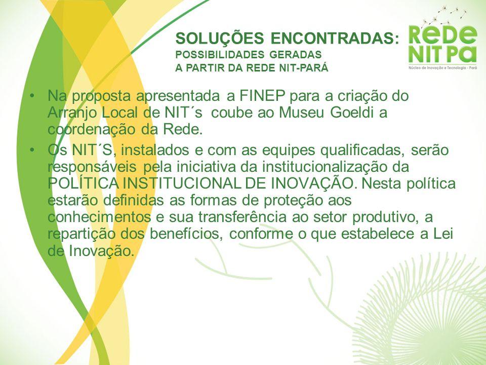 Na proposta apresentada a FINEP para a criação do Arranjo Local de NIT´s coube ao Museu Goeldi a coordenação da Rede. Os NIT´S, instalados e com as eq