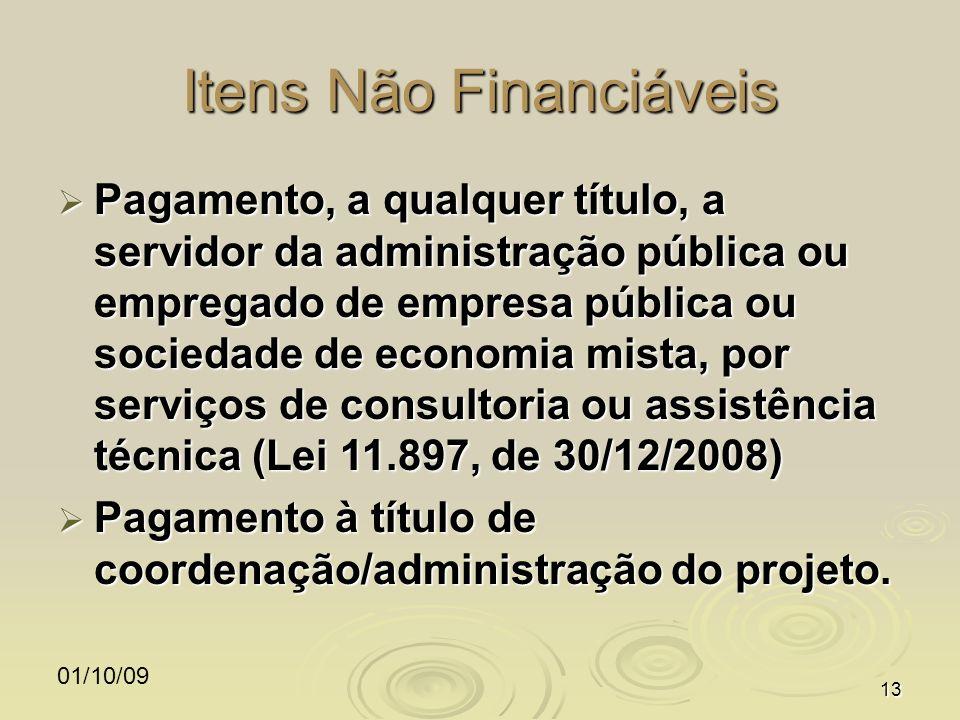 01/10/0913 Itens Não Financiáveis Pagamento, a qualquer título, a servidor da administração pública ou empregado de empresa pública ou sociedade de ec