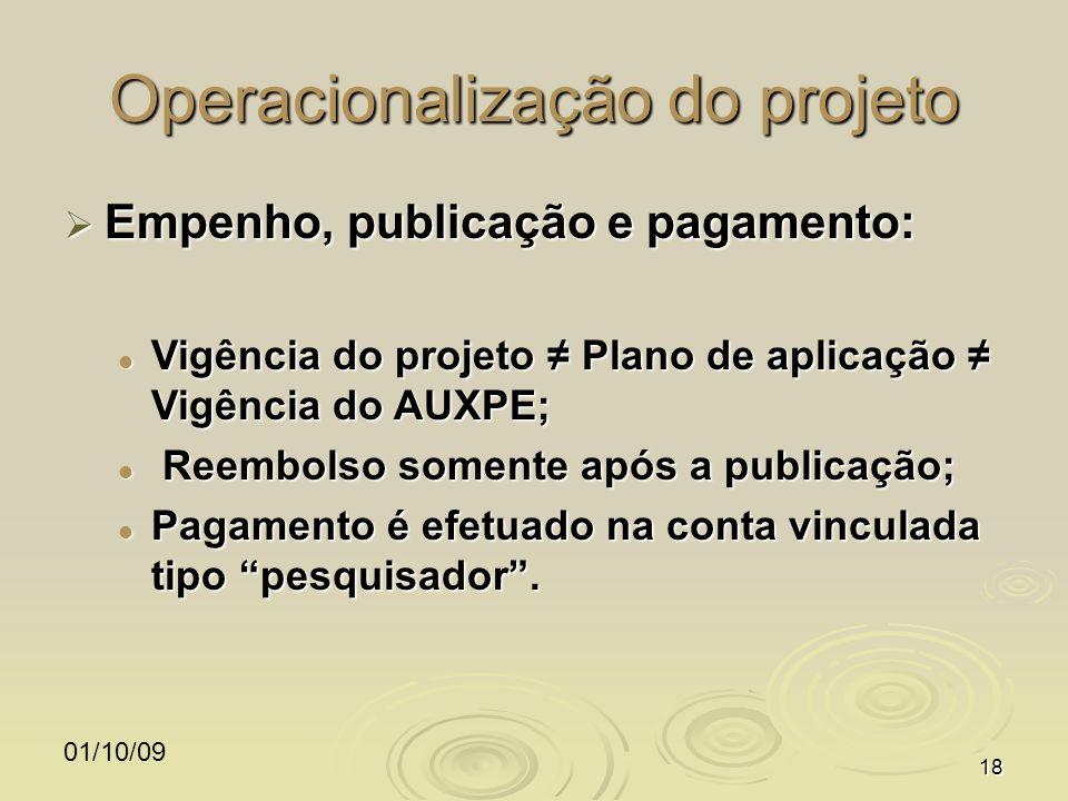 01/10/0918 Operacionalização do projeto Empenho, publicação e pagamento: Empenho, publicação e pagamento: Vigência do projeto Plano de aplicação Vigên