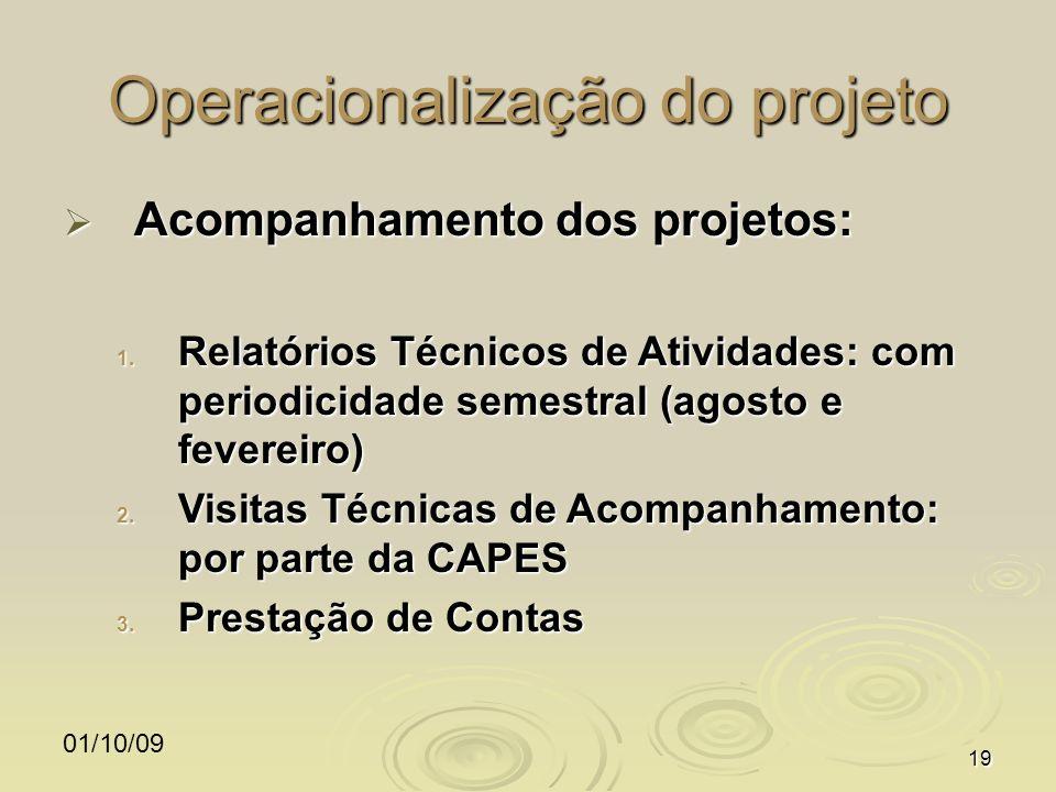 01/10/0919 Operacionalização do projeto Acompanhamento dos projetos: Acompanhamento dos projetos: 1. Relatórios Técnicos de Atividades: com periodicid