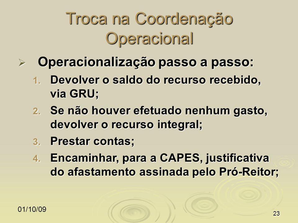 01/10/0923 Troca na Coordenação Operacional Operacionalização passo a passo: Operacionalização passo a passo: 1. Devolver o saldo do recurso recebido,