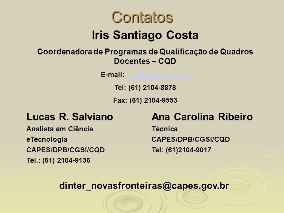 Contatos Lucas R. Salviano Analista em Ciência eTecnologia CAPES/DPB/CGSI/CQD Tel.: (61) 2104-9136 Ana Carolina Ribeiro Técnica CAPES/DPB/CGSI/CQD Tel