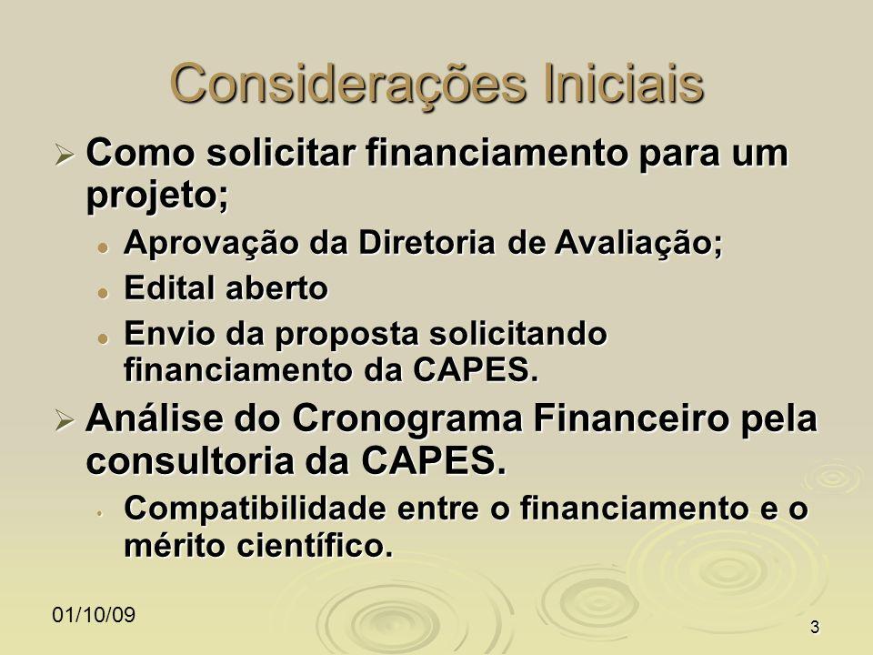 01/10/093 Considerações Iniciais Como solicitar financiamento para um projeto; Como solicitar financiamento para um projeto; Aprovação da Diretoria de Avaliação; Aprovação da Diretoria de Avaliação; Edital aberto Edital aberto Envio da proposta solicitando financiamento da CAPES.