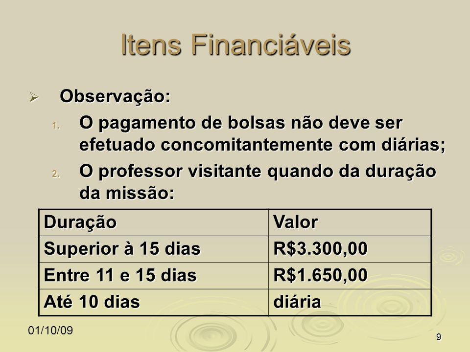 01/10/099 Itens Financiáveis Observação: Observação: 1. O pagamento de bolsas não deve ser efetuado concomitantemente com diárias; 2. O professor visi