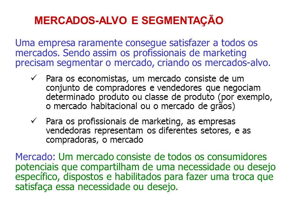 MERCADOS-ALVO E SEGMENTAÇÃO Uma empresa raramente consegue satisfazer a todos os mercados. Sendo assim os profissionais de marketing precisam segmenta