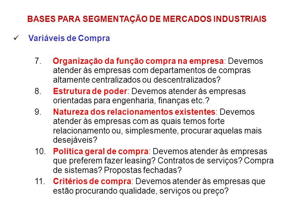 BASES PARA SEGMENTAÇÃO DE MERCADOS INDUSTRIAIS Variáveis de Compra 7. Organização da função compra na empresa: Devemos atender às empresas com departa