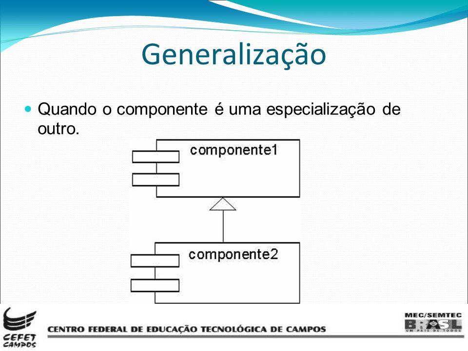 Generalização Quando o componente é uma especialização de outro.