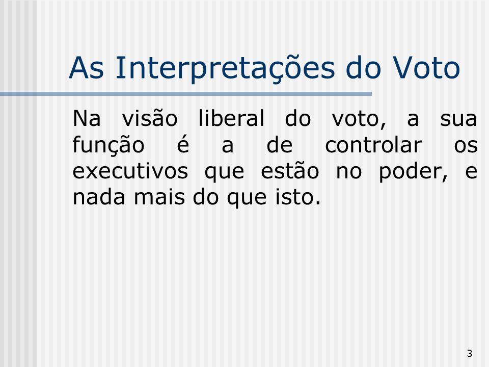 3 As Interpretações do Voto Na visão liberal do voto, a sua função é a de controlar os executivos que estão no poder, e nada mais do que isto.