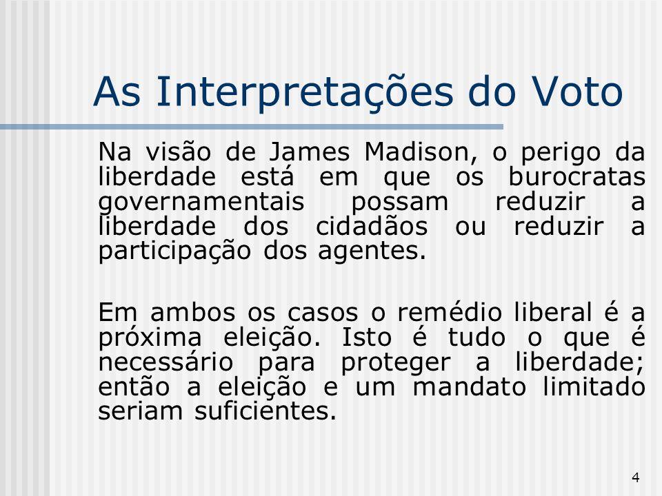 5 As Interpretações do Voto Na visão liberal, a troca de governantes é o único instrumento disponível para proteger a liberdade dos cidadãos.