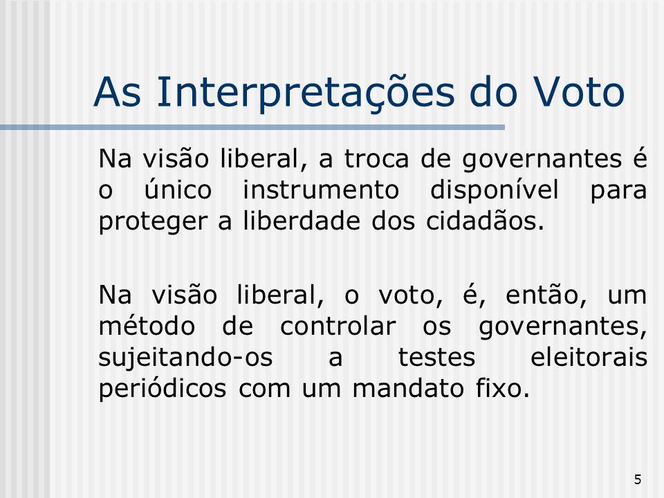 6 As Interpretações do Voto Na visão liberal não é assumido que o eleitorado está certo.