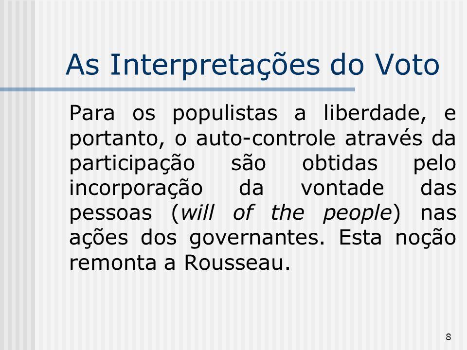 8 As Interpretações do Voto Para os populistas a liberdade, e portanto, o auto-controle através da participação são obtidas pelo incorporação da vontade das pessoas (will of the people) nas ações dos governantes.