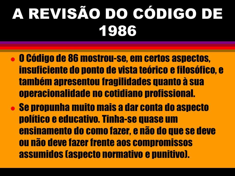 A REVISÃO DO CÓDIGO DE 1986 l O Código de 86 mostrou-se, em certos aspectos, insuficiente do ponto de vista teórico e filosófico, e também apresentou